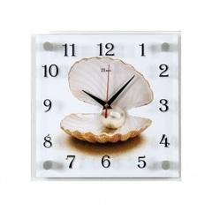 Часы настенные 2525-1018 Ракушка с жемчужиной