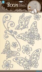 "Наклейка декор ""RoomDecor"" POA 5802 Бабочки серебро оптом"