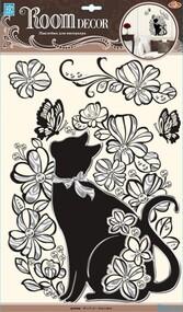 """Наклейка декор """"RoomDecor"""" POA 5855 Кошечка в цветах оптом"""