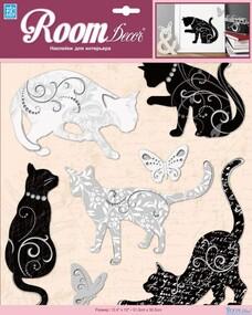 """Наклейка декор """"RoomDecor"""" PSA 6714 Черные и белые кошечки оптом"""
