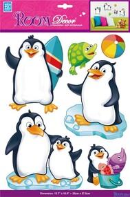 """Наклейка декор """"RoomDecor"""" PSA 6803 Пингвины обьемные оптом"""