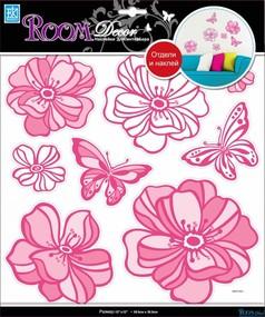 """Наклейка декор """"RoomDecor"""" RDA 7705 Цветы со стразами розовые оптом"""