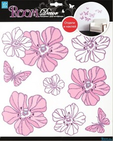 """Наклейка декор """"RoomDecor"""" RDA 7706 Цветы со стразами оптом"""